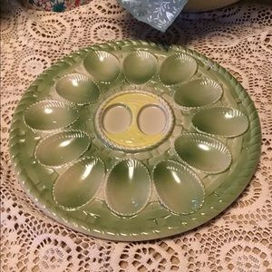 Antique Japan Egg Plate Green Porcelain 1920s